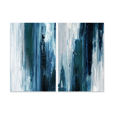 2 Piece Indigo Canvas Wall Art Set