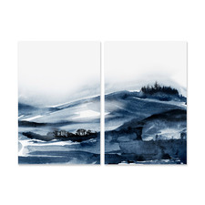 2 Piece Forest Blue Canvas Wall Art Set