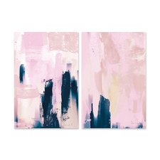 2 Piece Pink Canvas Wall Art Set