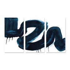 Blue Blush Stretched Canvas Wall Art Triptych