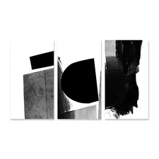 Mono Black Stretched Canvas Wall Art Triptych