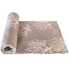 Taupe Coral Printed Cotton Table Runner