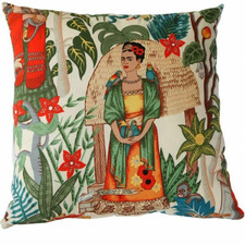 Natural Frida's Garden Cotton Cushion