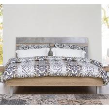 Simon Brushed Finish Vintage Style Bed Frame