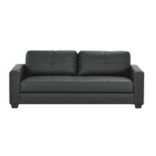 Black PU Leather 3 Seater Sofa