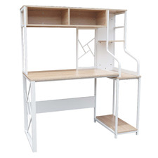 White & Natural Trina Study Desk with Hutch