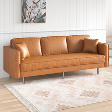 Coogee 3 Seater Faux Leather Sofa
