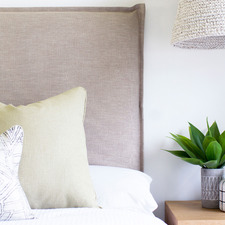 Almond Grace Upholstered Headboard with Slipcover