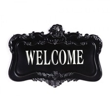 Welcome Tin Wall Plaque Sign in Black