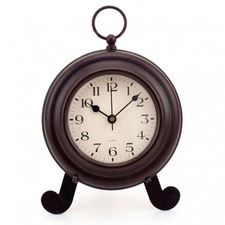 Round Metal Mantle Clock on Easel