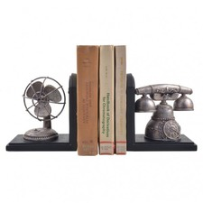 Vintage Telephone and Fan Bookend (Set of 2)