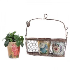 Wire Basket with 3 Vintage Seed Label Pot