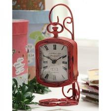 Distressed Pewter Mantle Clock