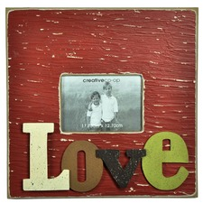 Square Wooden Photo Frame with 3D Raised Letter