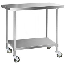 Cefito 304 Stainless Steel Kitchen Prep Table with Wheels
