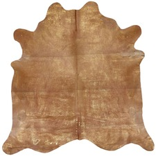 Gold & Beige Star Cow Hide Rug