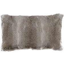 Grey Rabbit Fur Lumbar Cushion