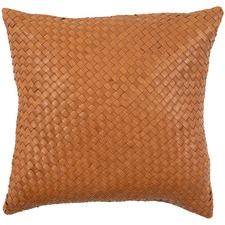 Tan Rustic Bottega Weave Leather Cushion