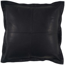 Blue-Black Nappa Patchwork Leather Cushion