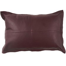 Wine Nappa Rectangular Patchwork Leather Cushion