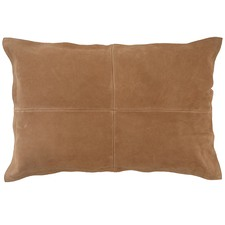Tan Nappa Rectangular Patchwork Leather Cushion