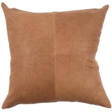 Cognac Rustic Patchwork Leather Cushion
