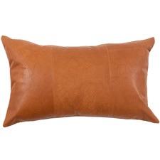 Tan Rustic Rectangular Leather Cushion