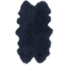 Navy Mongolian Sheepskin Throw Rug
