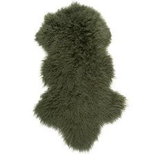 Olive Mongolian Sheepskin Rug