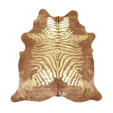 Brown Metallic Zebra Print Cowhide Rug