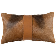 Tan Hartebeest Hide & Leather Band Lumbar Cushion