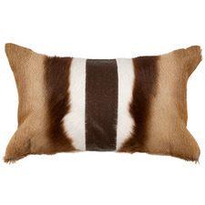 Brown & Beige Springbok Hide Lumbar Cushion