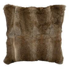Brown & White Rabbit Fur Throw Cushion