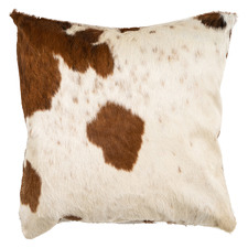 Brown & White Cowhide Square Cushion