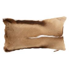 Beige Springbok Hide & Suede Lumbar Cushion
