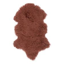 Dark Coral Ennius Mongolian Sheepskin Rug