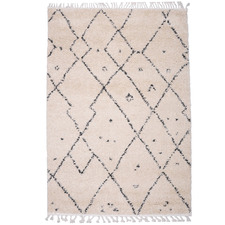 Ivory Nadia Bohemian-Style Geometric Rug
