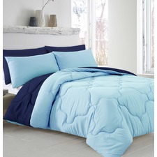 Blue & Navy Reversible Quilt Cover Set