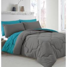 5 Piece Teal & Grey Reversible Comforter Set