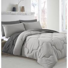 5 Piece Silver & Charcoal Reversible Comforter Set