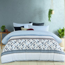 Blue Joel Microfibre Quilt Cover Set