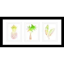 Funky Pineapple Watercolour Silhouette Framed Trio Print