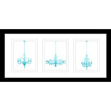Chandelier Watercolour Silhouettes One Framed Trio Print