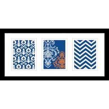 Pixel Patterns Mondrian Blue Framed Trio Print