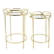 2 Piece Gold Doris Metal Side Table Set