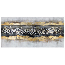 Golden Milkyway Hand Painted Textured Canvas Wall Art with Mosaic applique