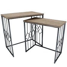 2 Piece Eros Rectangular Nesting Side Table Set
