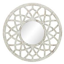 White Chava Round Wooden Wall Mirror