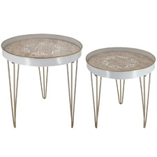 2 Piece Bay Wooden & Metal Side Table Set