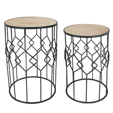 2 Piece Eros Round Side Table Set